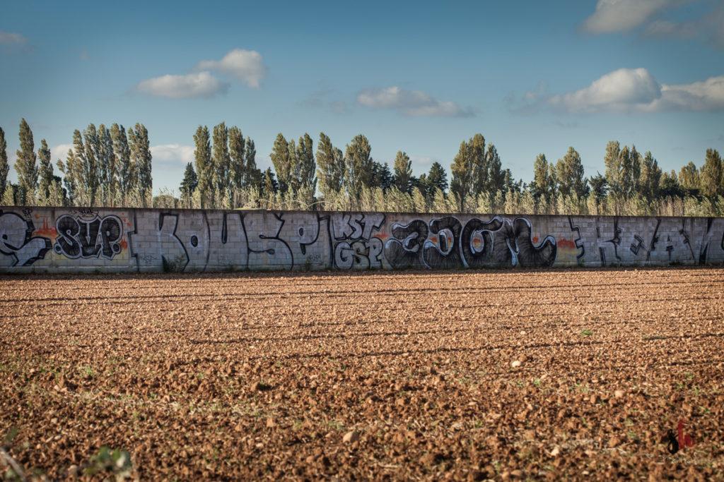 tag, graph, street art au milieu des champs dans la campagne